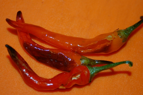 roast the cayenne peppers too
