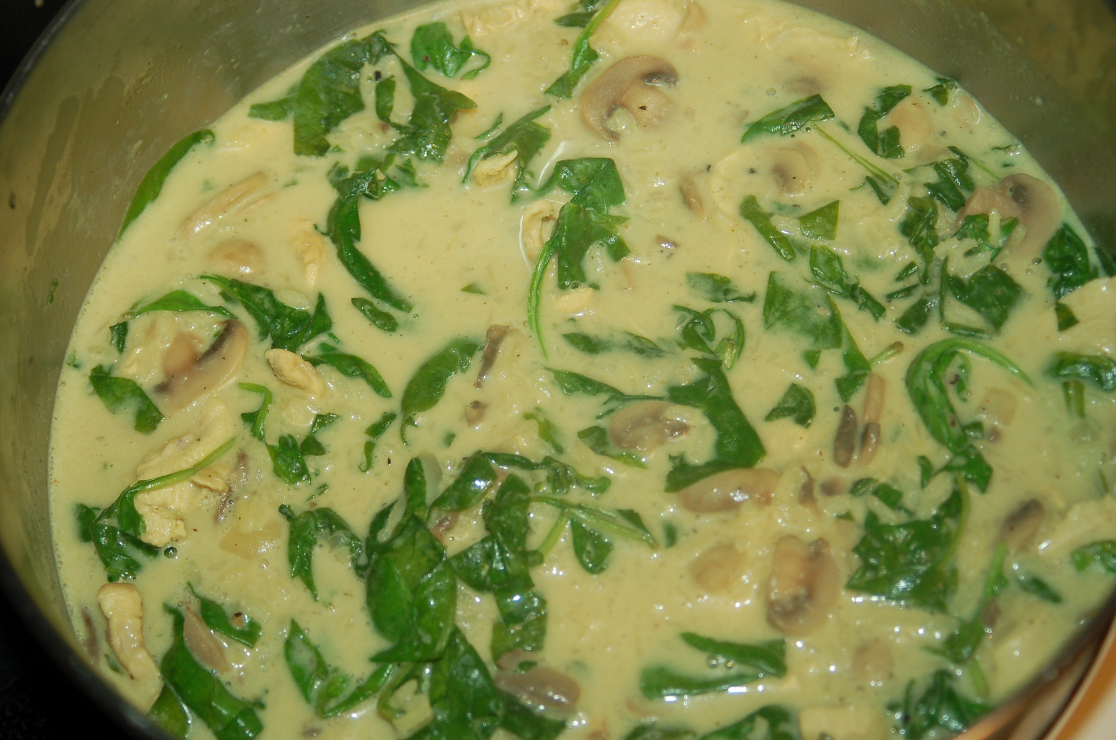 Chicken in Creamy Mushrooms  Spinach, inspired by Cream of