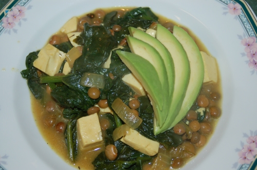 Tofu & Spinach Curry with Avocado Fan