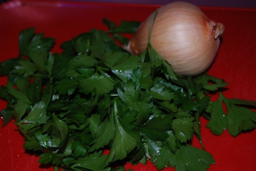 Fresh parsley and an onion; great flavors