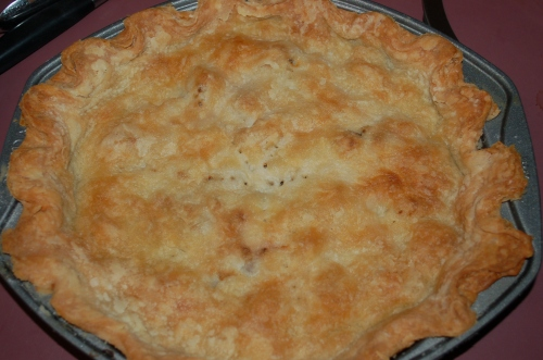 The fabulouse meat pie out of the oven