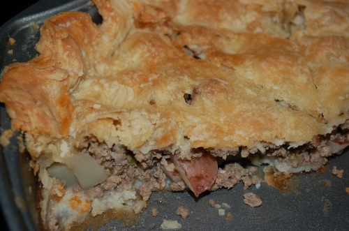 A close look at Celine's Famous Meat Pie