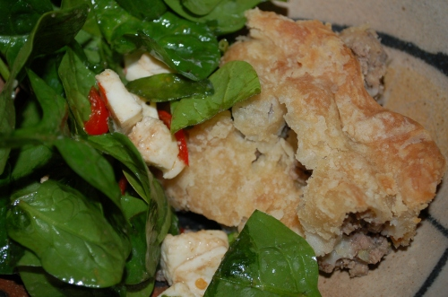 I had my meat pie with a fresh spinach salad