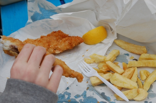 There is nothing better on Fish and Chips that a heavy-handed doucing of salt!