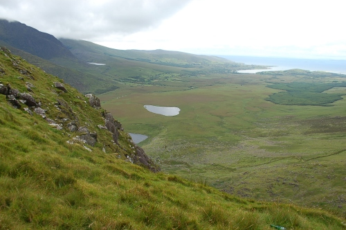 View of corrie lakes from Connor Pass, County Kerry