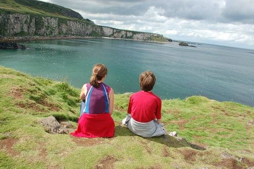 Calder & Mimi enjoying the view from Carrick-a-Rede