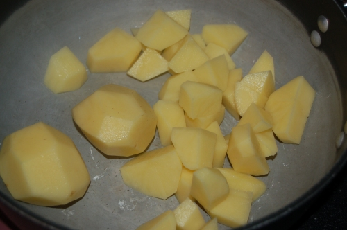 peel, then dice potatoes