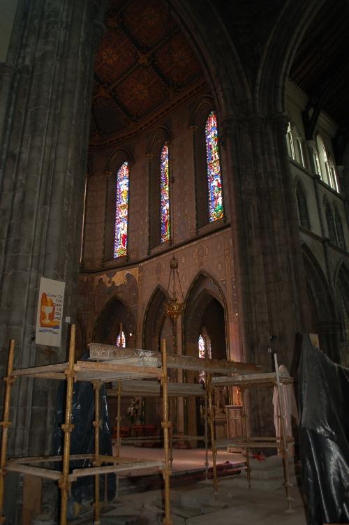 Construction inside the church