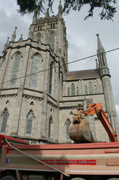 work was also being done outside the church
