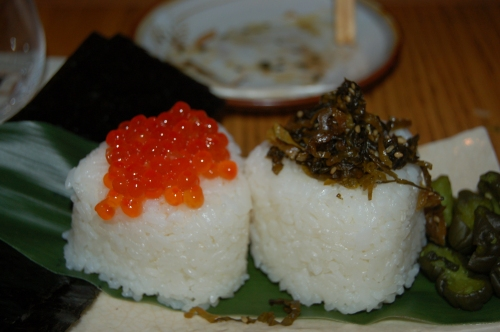 onigiri - rice balls with salmon roe & fried daikon leaves