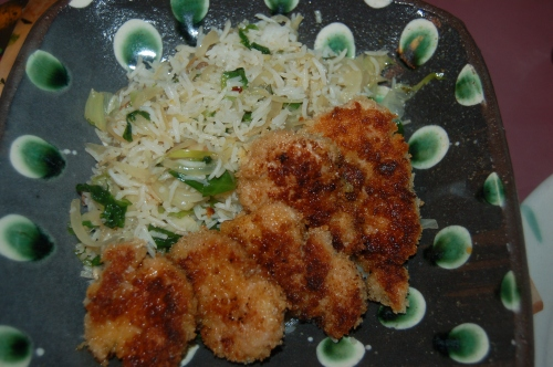 Crispy Fried Pork Medallions with Escarole Rice
