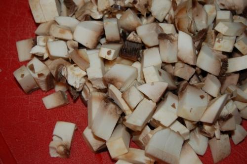 dice mushrooms