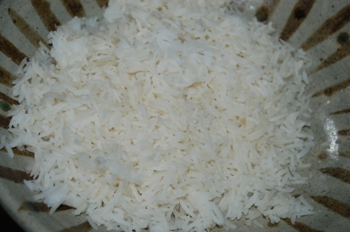 cool basmati rice or take leftover rice from frige adn mix to seperate