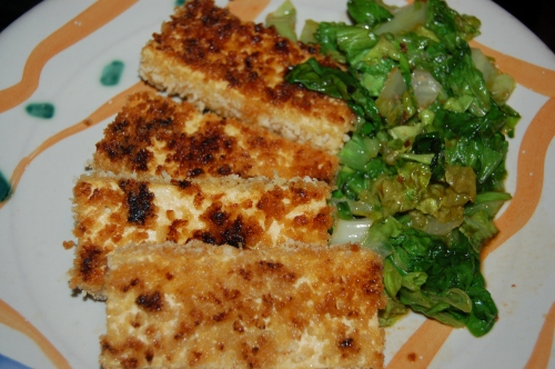 Panko-fried Tofu with Wilted Escarole