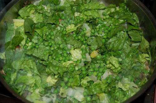 Add bouillon cube, then liquid adn greens