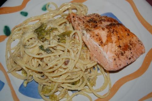 Salmon With Lemony Spaghetti