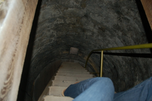 Inside the Round tower by st. Canice's (i was very brave to be holding on to nothing but my camera!)