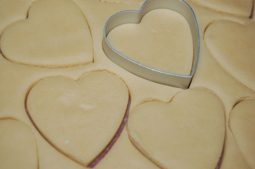 Press out shortbread with biscuit/cookie cutter