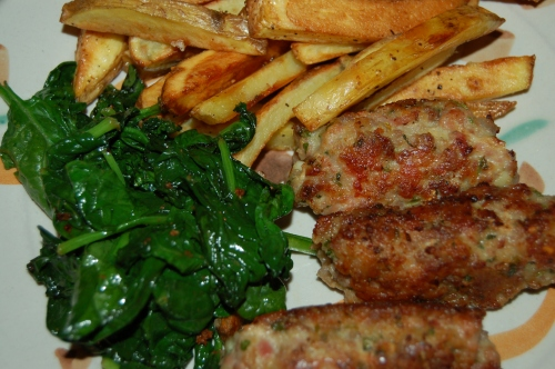 Homemade sausages with homemade freis adn sauteed spinach for dinner last night