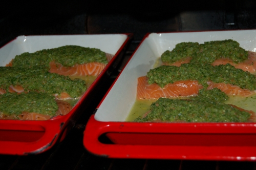 Top fish with salsa adn place in oven