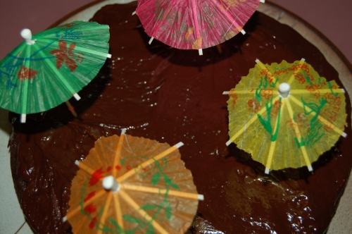 Our six-minute Cake with little umbrellas (didn't have birthday candles!)