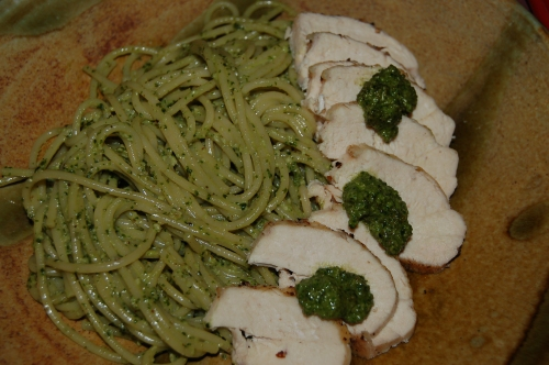 Pesto with Chicken and spaghetti