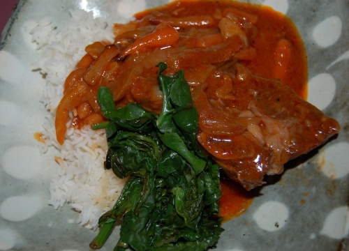 I served the short ribs with sauteed spinach adn basmati rice