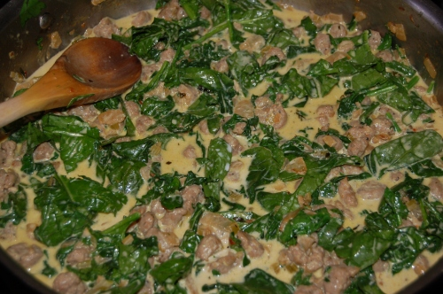Add the liquids, then the spinach