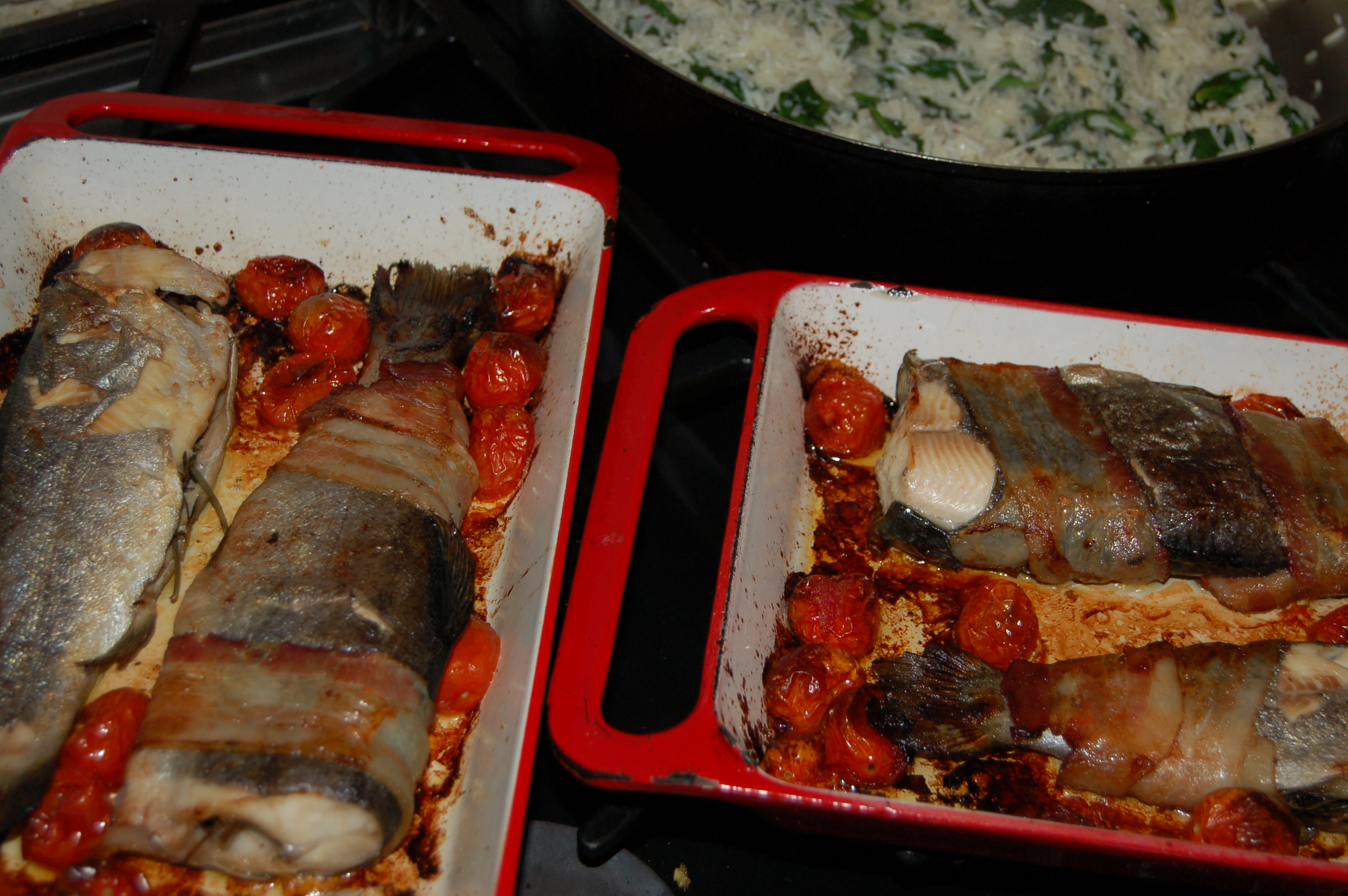 Baked trout with bacon and cherry tomatoes serves 4 for Fishing with bacon