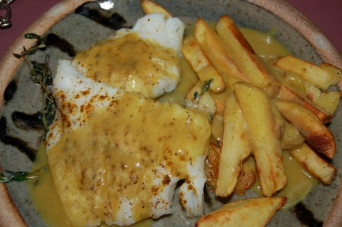 Curried Chips with Cod Fish