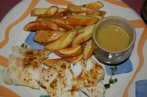 As you can see, I served the fish with curry sauce adn chips - delish!