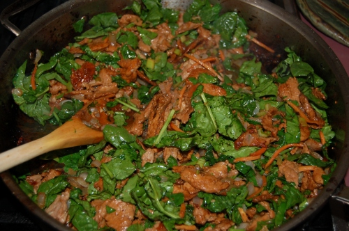 add spinach adn all other ingrediets back into pan