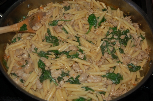 add cooked penne
