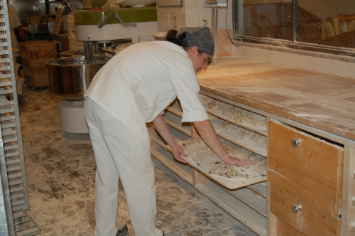 John checking the muliple drawers of rising dough (check out the floor)