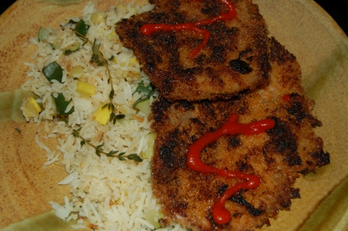 My dinner on a whim; Crispy panko fried pork with perfume-y rice and zucchini