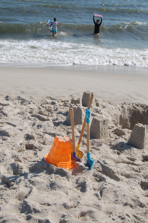 where there is sand, there is also a bucket and spade close by