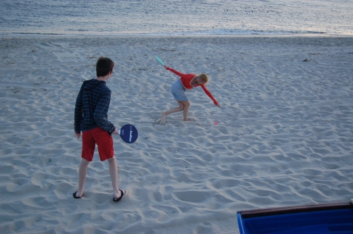 Playing paddleball with Calder after dinner (dorsn't everyone?)