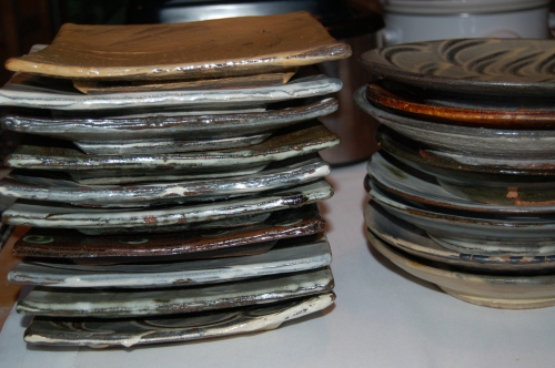 Stacks of lvoely plates for my catering job (much nicer than eating off paper plates don't you think!)