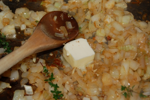saute onions, garlic, add butter and thyme