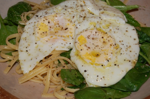 Change it up and top your pasta with fried eggs!