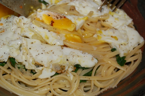 Yummy runny eggs are delicious in this dish (very econimcal too!)
