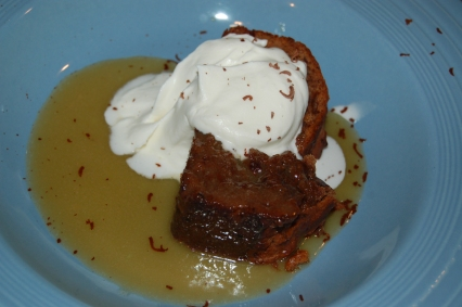 chocolate toffee pudding with fresh cream and toffee sauce