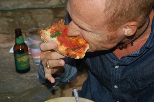 David chowing down on Pizza and beer!
