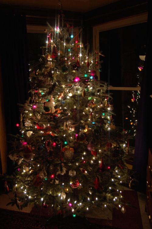 our Tree with its mish mosh of every ornament we have collected ober the years