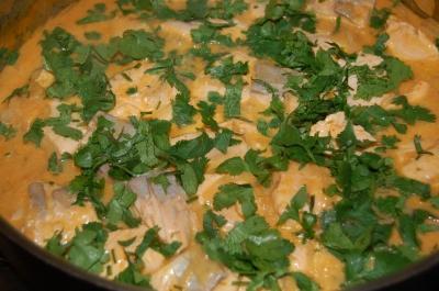 add cilantro to finsihed dish