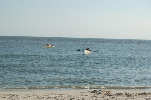 Cape May Point lifeguards practicing boat maneuvers.