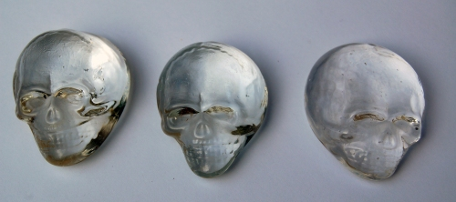 These funky glass skulls were given to us by