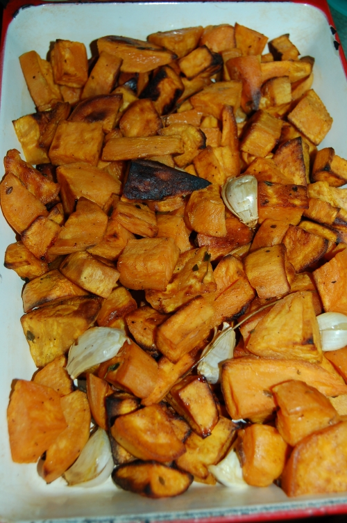 Yesterday I roasted sweet potatoes with whole garlic cloves which we could the slather over