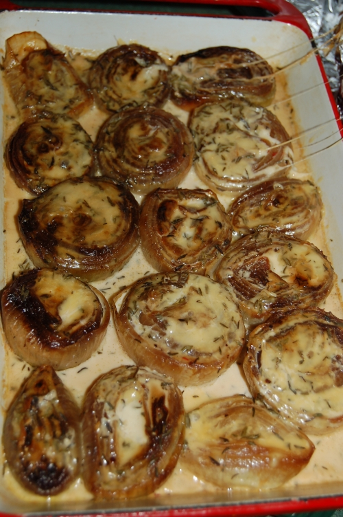 I finished off my baked onions with a fresh cream, thyme and cheese sauce