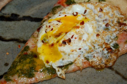 fried egg on pizza